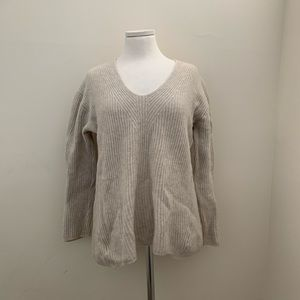 Madewell Merino Wool Ivory Grey V-Neck Sweater M
